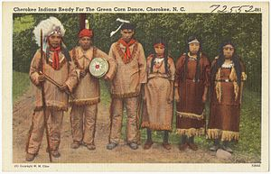 Cherokee mythology - A postcard depicting Cherokee people ready for The Green Corn Dance.