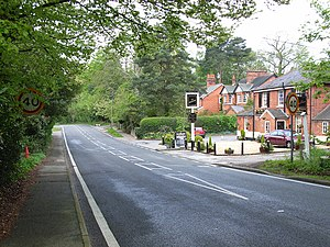 Windlesham - A typical long line of Victorian houses close to the village centre. The Brickmakers Arms is depicted.