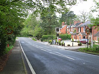 Windlesham - A typical long line of Victorian houses close to the village centre. The Brickmakers Arms is visible.