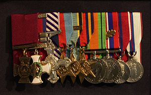 Leonard Cheshire - Cheshire's medal group on display at the Imperial War Museum.