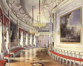 Gatchina Palace - The Chesma Gallery in the Neoclassical style of the 1790s. Eduard Hau, 1877.
