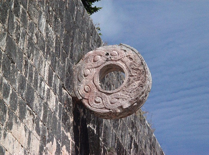 A ring at Chichen Itza. This ring was set some 6 meters (20 feet) above the playing alley, making it extremely difficult to pass the heavy ball through the hole. Chichen Itza Goal.jpg