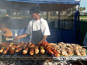 Kebab - Chicken kebabs (at left) and other foods