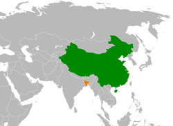 Map indicating locations of China and Bangladesh