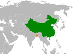 মানচিত্র China এবং Bangladesh অবস্থান নির্দেশ করছে