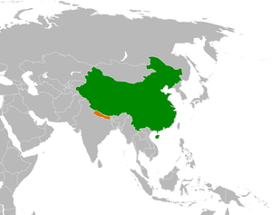 Locator map showing China and Nepal