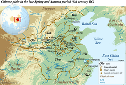 Map of the Chinese plain in the 5th century BC. The state of Yue is located in the southeast corner.