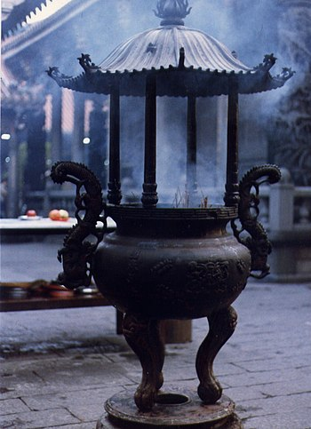 Incense burning at a temple in Taipei