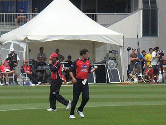 Cricket in New Zealand - Chris Cairns starts a run-up at Eden Park in 2006