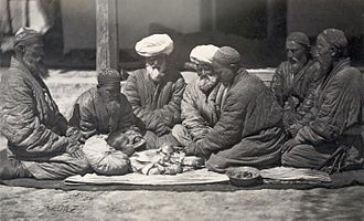 Khitan (circumcision) - Circumcision being performed in central Asia (probably Turkestan), c. 1865–1872.  Restored albumen print.