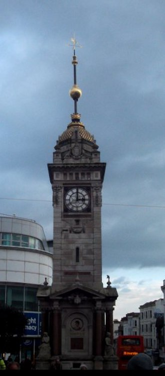 Jubilee clock - Clock Tower, Brighton, showing the time ball in mid descent