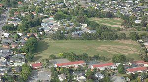 Cobham Intermediate School - Cobham Intermediate School in the centre; Burnside Primary in the foreground