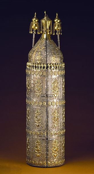 Judaism - Silver case containing a handwritten Torah (Museum of Jewish Art and History, Paris)