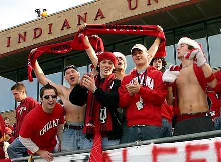 Fans at college soccer games (here at Indiana University in 2004) can number in the thousands between top teams College soccer fans indiana 2004.jpg