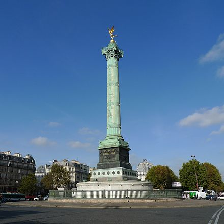 The Place de la Bastille and the July Column where the Bastille once stood. Colonne de Juillet 01.jpg