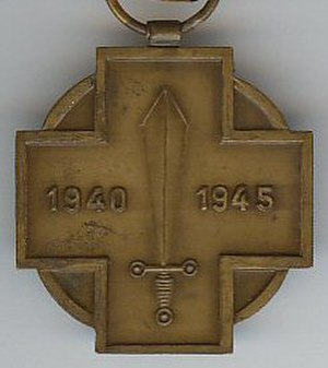 1940–1945 Military Combatant's Medal - Image: Combattant Militaire 39 45 revers