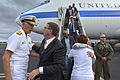 Commander, U.S. Pacific Command, Navy Adm. Samuel Locklear III, greets Defense Secretary Ash Carter, as he and his wife, Stephanie, arrive in Honolulu, May 26, 2015 150526-D-NI589-104A.jpg