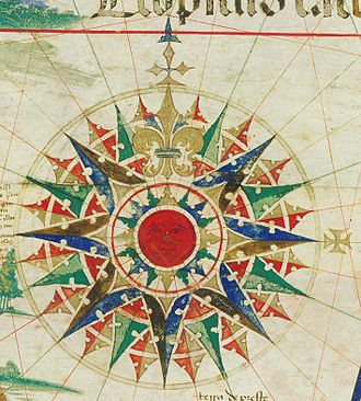 Cantino planisphere - Major wind rose of the Cantino planisphere