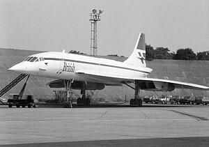 Concorde G-BOAB behind Technical Block A, Heathrow Airport.jpg