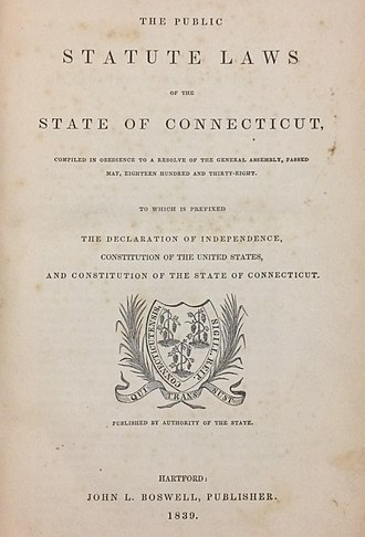 State law (United States) - Title folio from the Connecticut General Statutes, Revision of 1838 (published 1839).
