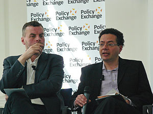 Tim Montgomerie - Montgomerie (left) at a Policy Exchange event in 2012 with Mark Pack of Liberal Democrat Voice