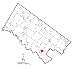 Location of Conshohocken in Montgomery County, Pennsylvania.