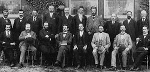 Hastings 1895 chess tournament - Masters at Hastings 1895. Standing: Albin, Schlechter, Janowski, Marco, Blackburne, Maróczy, Schiffers, Gunsberg, Burn, Tinsley. Seated: Vergani, Steinitz, Chigorin, Lasker, Pillsbury, Tarrasch, Mieses, Teichmann.  Not present: von Bardeleben, Mason, Walbrodt