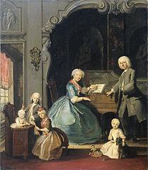 Groupe familial près d'un clavecin