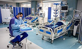Coronavirus patients on ventilators at the Imam Khomeini Hospital in Tehran