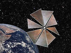 Solar sail - An artist's depiction of a Cosmos 1-type spaceship in orbit