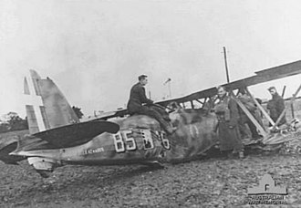 Fiat CR.42 - CR.42 fighter of 18° Gruppo, 56° Stormo after crash-landing near Lowestoft, Suffolk on 11 November 1940. The pilot successfully evaded three British Hurricanes, but was forced down by a malfunction of his aircraft's variable-pitch propeller