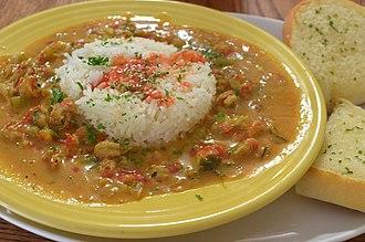 Étouffée - Crawfish étouffée, served at a restaurant in New Orleans