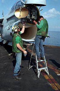 Crew service APQ-126 of VA-66 A-7E aboard CVN-69 1983.JPEG