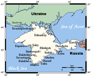 Map of Crimea with major cities.