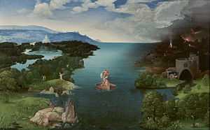 Joachim Patinir - Landscape with Charon Crossing the Styx, oil on panel, 64 × 103 cm (25.2 × 40.6 in), Prado Museum, Madrid