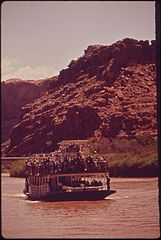 "Crowded with Sightseers, the Stern - Wheeler ""Canyon King"" Sets Off on Its Maiden Voyage, 05-1972 (3857079114).jpg"