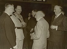 Prime Ministers Curtin, Fadden, Hughes, Menzies and Governor-General The Duke of Gloucester in 1945. Curtin GGPrinceHenry Fadden Hughes Menzies.jpg