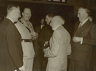 Australian home front during World War II - Prime Ministers Curtin, Fadden, Hughes, Menzies and Governor-General The Duke of Gloucester in 1945.