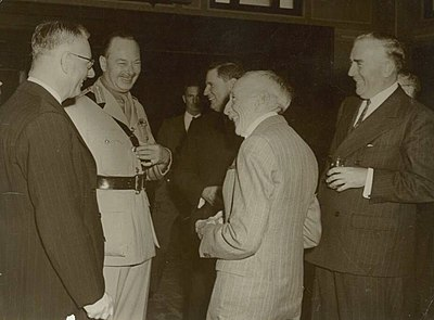 Prime Ministers Curtin, Fadden, Hughes, Menzies and Governor-General The Duke of Gloucester 2nd from left, in 1945. Curtin GGPrinceHenry Fadden Hughes Menzies.jpg