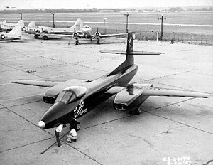Curtiss-Wright XF-87 Blackhawk - XP-87 on ramp with C-47s and B-17s in background