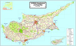 geophysical and road map of cyprus