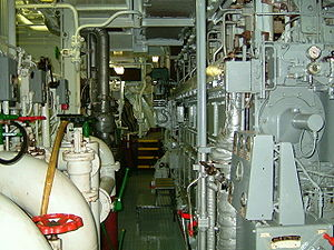 Engine room - Main engine deck of a cargo vessel