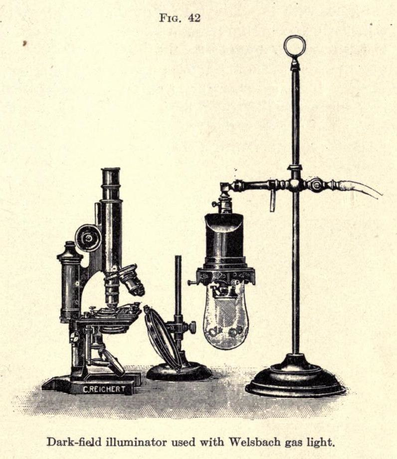 Dark-Field illuminator used with Welsbach gas light - A Text-Book on Disease-Producing Microörganisms - 1910
