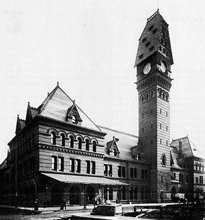 Cyrus L. W. Eidlitz - Dearborn Station, a Romanesque Revival architecture building designed by Eidlitz and built May 8, 1885. Photo of the station shows its appearance prior to 1922
