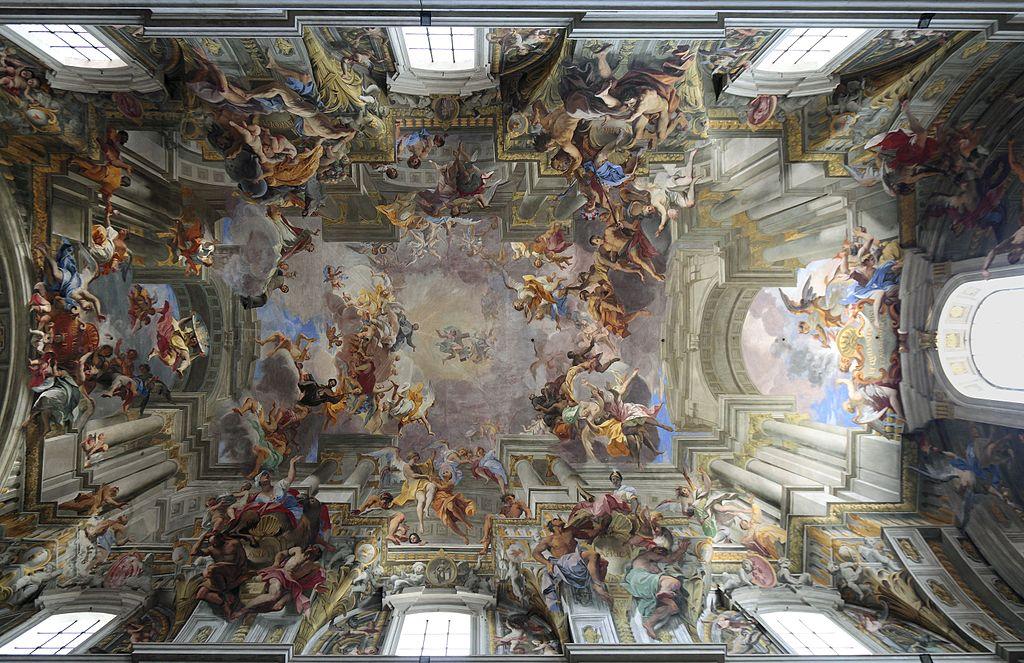 > Triomphe de S. Ignace de Loyola par Andrea Pozzo (1685) dans l'église Saint-Ignace-de-Loyola à Rome. Photo de Myriam Thyes