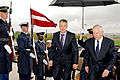 Defense.gov News Photo 110413-D-WQ296-016 - Secretary of Defense Robert M. Gates escorts Latvian Minister of Defense Artis Pabriks left through an honor cordon and into the Pentagon for.jpg