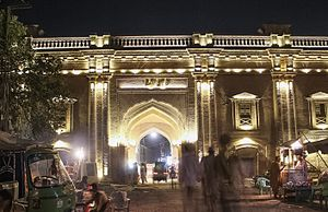 Delhi Gate, Lahore - Delhi Gate has been restored and is now illuminated at night.