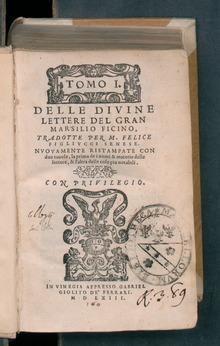 Delle divine lettere del gran Marsilio Ficino, 1563