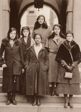 Delta Sigma Theta - Members at 1921 national convention, hosted by Gamma Chapter (l to r): front, Virginia Margaret Alexander, Julia Mae Polk, Sadie Tanner Mossell; row 2, Anna R. Johnson, Nellie Rathbone Bright, Pauline Alice Young