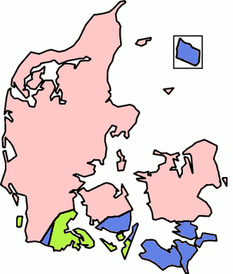 A map showing the distribution of stod in Danish dialects: Dialects in the pink areas have stod, as in standard Danish, while those in the green ones have tones, as in Swedish and Norwegian. Dialects in the blue areas have (like Icelandic, German, and English) neither stod nor tones. Denmark-stoed.png